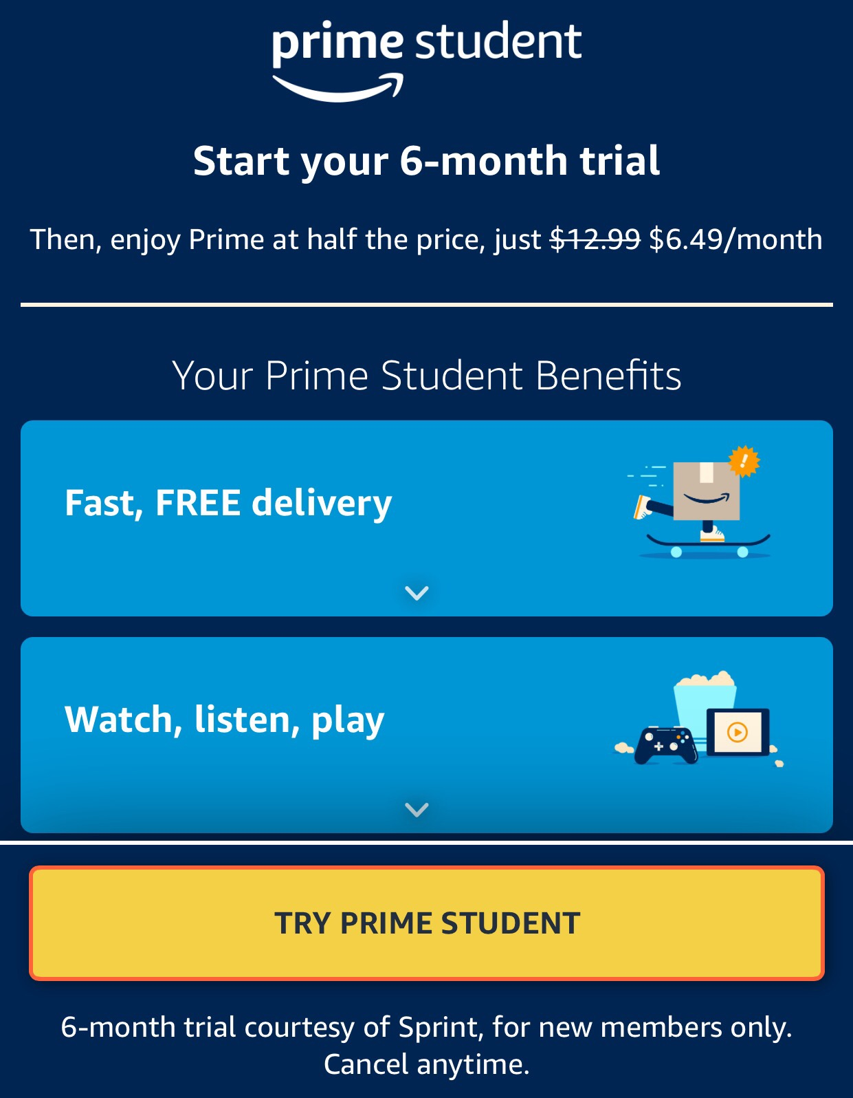 Prime Student 6-month Trial